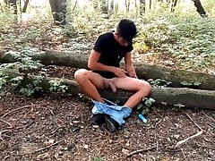 Twink eats own cum outdoor