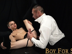 Little boy slave fucked bareback by master's huge daddy dick
