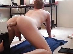 Bouncing on dildo