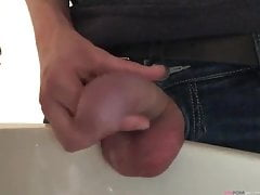 Fetish gay boy is pissing - close up