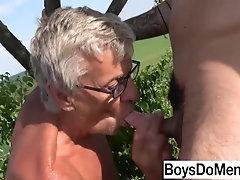 Old Frank tastes Fresh Semen