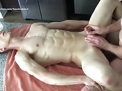 Oiled Up Bareback Anal Sex Hairy Daddy & Sexy Muscle Hunk Kissing, Sucking Dick, Eating Ass, Fucking