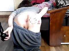 Gaping my butt with my doggy dildo