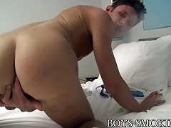 Dick rider Damon Archer spanks his monkey while smoking