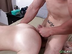 Cock sucked army twink gets bareback fucked