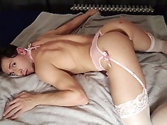 Horny sissy boy in chastity with dripping wet pussy