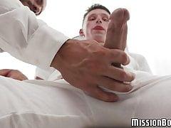 Young Mormon masturbates for burly gay pastor