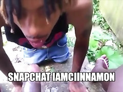 """Hung Shemale Getting Head From """"DL Thug"""" Outside Behind The Trap House"""