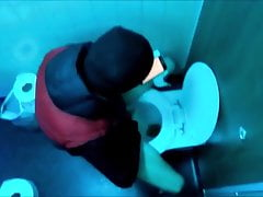 Young Unemployed Man Wanking In Men's Toilets